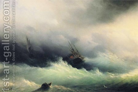 Ships in a Storm by Ivan Konstantinovich Aivazovsky - Reproduction Oil Painting