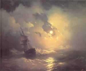 Ivan Konstantinovich Aivazovsky reproductions - Tempest on the sea at night