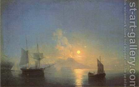 The Bay of Naples by Moonlight by Ivan Konstantinovich Aivazovsky - Reproduction Oil Painting