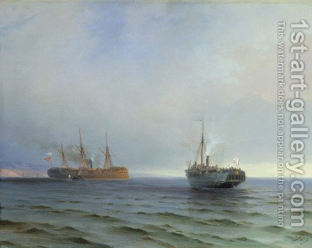 The capture of Turkish navel on Black sea by Ivan Konstantinovich Aivazovsky - Reproduction Oil Painting