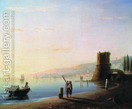 The pier in Feodosia by Ivan Konstantinovich Aivazovsky - Reproduction Oil Painting