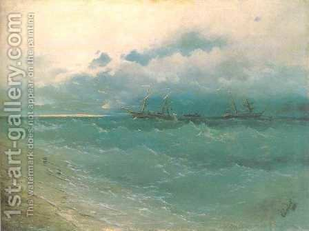 The ships on rough sea sunrise by Ivan Konstantinovich Aivazovsky - Reproduction Oil Painting