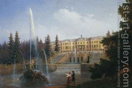 View of the Big Cascade in Petergof and the Great Palace of Petergof by Ivan Konstantinovich Aivazovsky - Reproduction Oil Painting