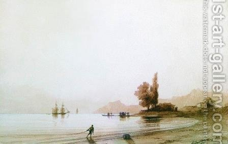 View on rocky coast by Ivan Konstantinovich Aivazovsky - Reproduction Oil Painting