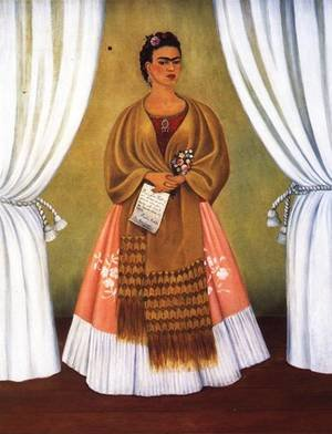 Reproduction oil paintings - Frida Kahlo - Self Portrait Dedicated To Leon Trotsky Or Between The Curtains 1937