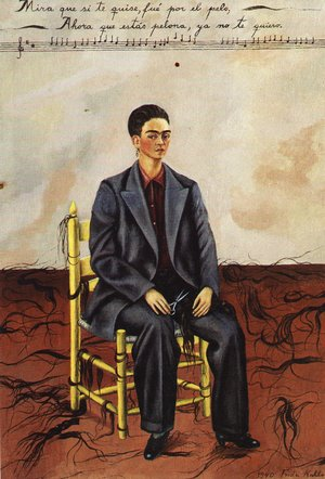 Reproduction oil paintings - Frida Kahlo - Self Portrait With Cropped Hair 1940