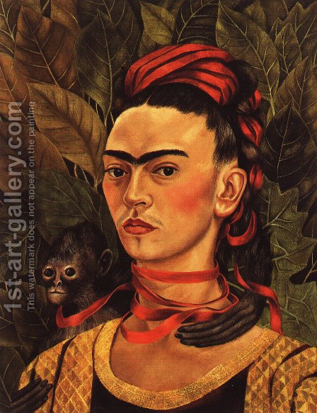 Self Portrait With Monkey 1940 by Frida Kahlo - Reproduction Oil Painting