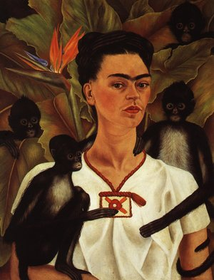 Reproduction oil paintings - Frida Kahlo - Self Portrait With Monkey 1943