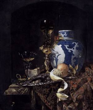Famous paintings of Glasses: Still Life With A Late Ming Ginger Jar 1669