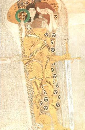 Reproduction oil paintings - Gustav Klimt - Yearning for Happiness Detail from Bethoven Frieze 1905