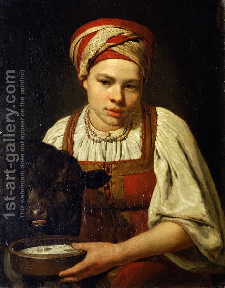 A Peasant Girl With A Calf 1820s by Aleksei Gavrilovich Venetsianov - Reproduction Oil Painting