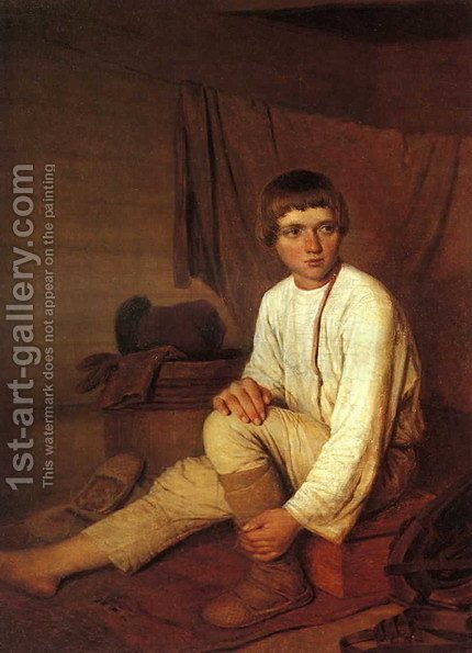 Peasant Boy Putting On Bast Sandals 1823-1827 by Aleksei Gavrilovich Venetsianov - Reproduction Oil Painting