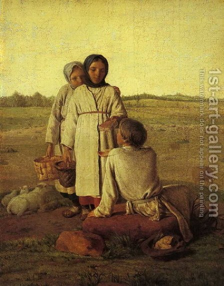 Peasant Children In The Field 1820s by Aleksei Gavrilovich Venetsianov - Reproduction Oil Painting