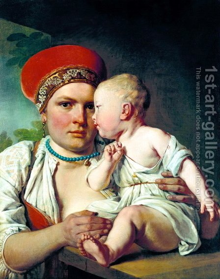 Wet Nurse With A Child 1830 by Aleksei Gavrilovich Venetsianov - Reproduction Oil Painting