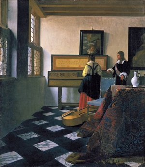 Reproduction oil paintings - Jan Vermeer Van Delft - The Music Lesson 1662-1665