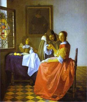 Reproduction oil paintings - Jan Vermeer Van Delft - Woman And Two Man 1659-1660