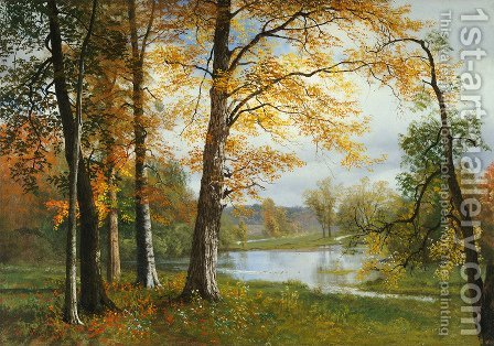 A Quiet Lake by Albert Bierstadt - Reproduction Oil Painting