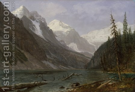 Canadian Rockies (Lake Louise) 1889 by Albert Bierstadt - Reproduction Oil Painting