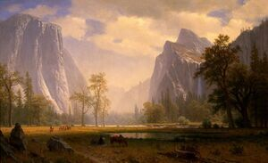 Reproduction oil paintings - Albert Bierstadt - Looking Up The Yosemite Valley 1865 67
