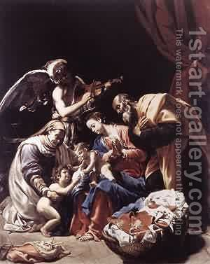 Holy Family With St Elizabeth The Young St John The Baptist And An Angel 1609 by Ambrogio Borgognone - Reproduction Oil Painting