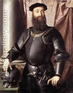 Cosimo I De Medici In Armour 1545 by Agnolo Bronzino - Reproduction Oil Painting