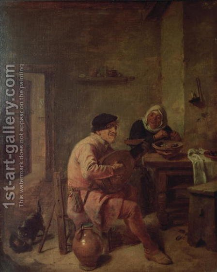 An Interior with Figures by Adriaen Brouwer - Reproduction Oil Painting