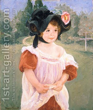 Spring Margot Standing in a Garden (Fillette dans un jardin) 1900 by Mary Cassatt - Reproduction Oil Painting