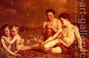 Young Boys Bathing by Hugh Collins - Reproduction Oil Painting