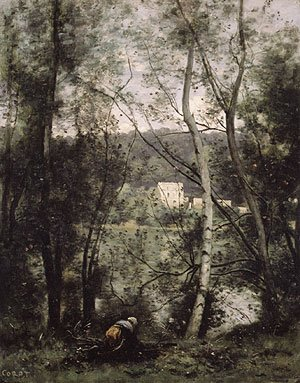 Reproduction oil paintings - Jean-Baptiste-Camille Corot - A Woman Gathering Faggots at Ville dAvray ca 1871