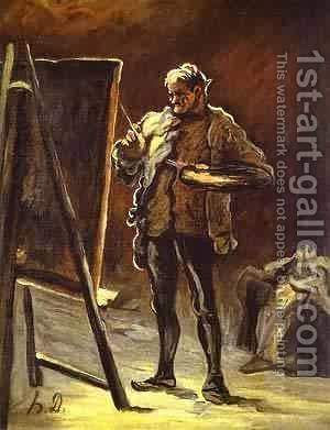 Artist In Front Of His Canvas 1870-1875 by Honoré Daumier - Reproduction Oil Painting