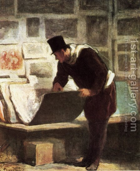 The Etching Amateur 1860-63 by Honoré Daumier - Reproduction Oil Painting