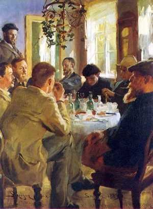 Reproduction oil paintings - Peder Severin Kroyer - Almuerzo con pintores de Skagen