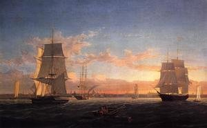 Reproduction oil paintings - Fitz Hugh Lane - Boston Harbor at Sunset 1853