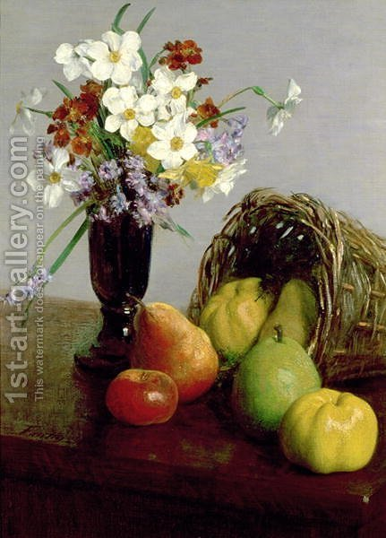 Fruits and Flowers 1866 by Ignace Henri Jean Fantin-Latour - Reproduction Oil Painting