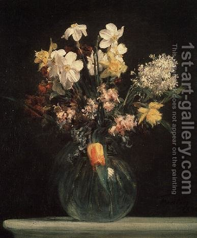 Narcisses Blancs Jacinthes et Tulipes 1864 by Ignace Henri Jean Fantin-Latour - Reproduction Oil Painting