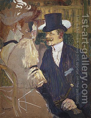 The Englishman (William Tom Warrener) at the Moulin Rouge 1892 by Toulouse-Lautrec - Reproduction Oil Painting