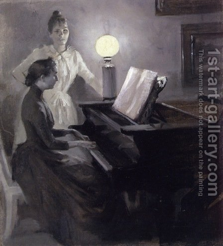 At the Piano by Albert Edelfelt - Reproduction Oil Painting