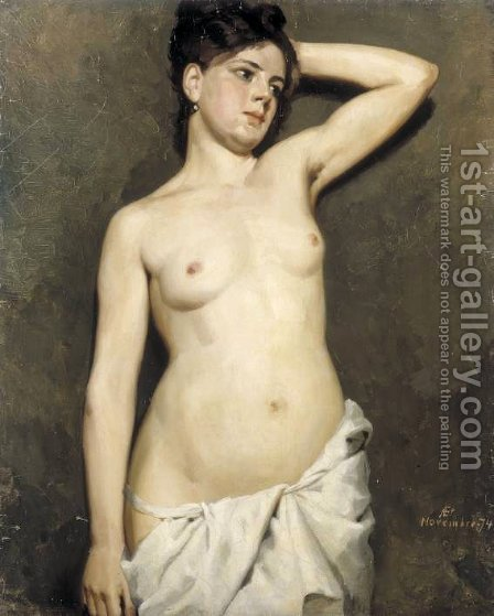 Female model academic study by Albert Edelfelt - Reproduction Oil Painting