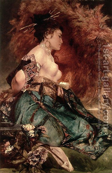 Japanese girl by Hans Makart - Reproduction Oil Painting