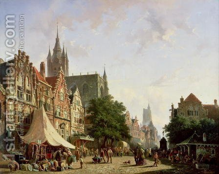Dutch Street Scene by Adrianus Eversen - Reproduction Oil Painting