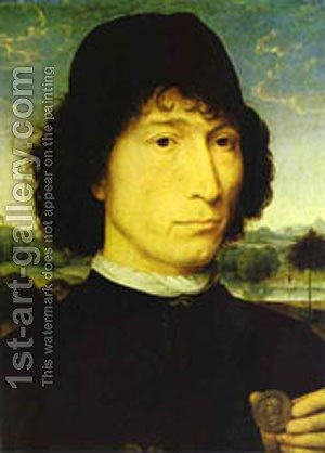 Portrait Of An Italian With A Roman Coin (Giovannide Candida) 1470 by Hans Memling - Reproduction Oil Painting