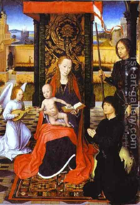 The Virgin And Child With An Angel St George And A Donor 1470-80 by Hans Memling - Reproduction Oil Painting