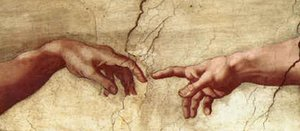 Famous paintings of Religion & Philosophy: Creation of Adam Hands only