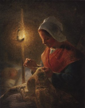 Reproduction oil paintings - Jean-Francois Millet - Woman Sewing By Lamplight 1870-1872