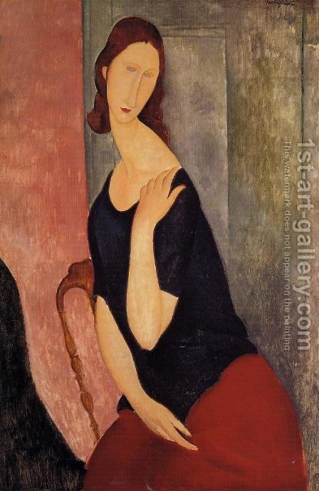 Portrait of Jeanne Hebuterne 1919 by Amedeo Modigliani - Reproduction Oil Painting