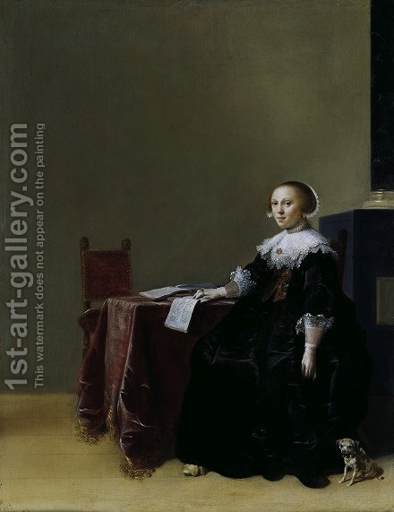 Portrait of a Young Woman c 1635 by Hendrick Gerritsz Pot - Reproduction Oil Painting
