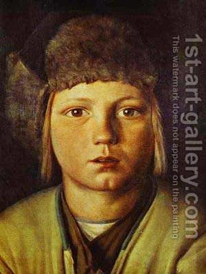 Portrait Of A Peasant Boy by Grigori Vasilievich Soroka - Reproduction Oil Painting