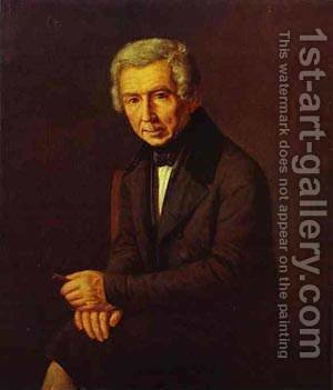 Portrait Of Alexey Venetsianov 1840s by Grigori Vasilievich Soroka - Reproduction Oil Painting