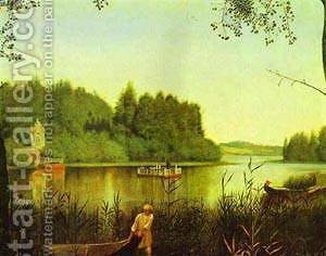View Of A Moldino Lake In The Estate Of Ostrovky 1840s-1850s by Grigori Vasilievich Soroka - Reproduction Oil Painting