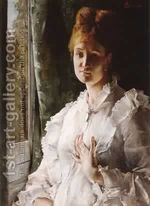 Portrait of a Woman in White by Aime Stevens - Reproduction Oil Painting